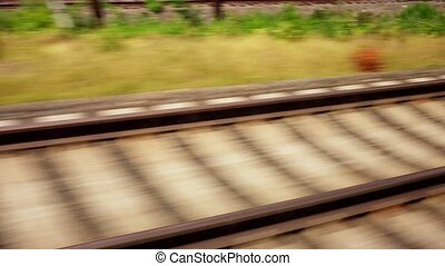 Moving train point of view footage Railway rails