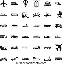 Moving transport icons set, simple style