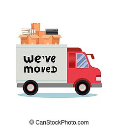 Moving truck and cardboard boxes. Moving Office stuff. Transport company. Trusk side veiw with lettering quote We ve moved. Vector cartoon style illustration