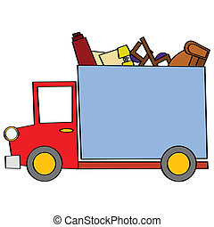 Cartoon illustration of a moving truck carrying some furniture