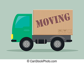 moving truck - detailed illustration of a delivery truck ...