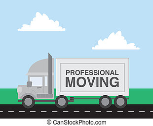 Moving Truck - Professional moving truck driving down the...