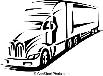 Moving truck - Moving delivery truck on road for...