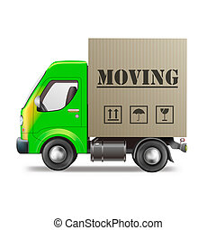 moving truck relocation with cardboard moving box isolated on white
