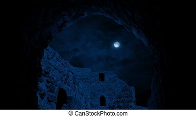 Moving Under Arch Of Ancient Building At Night