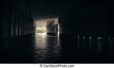 Moving Under Bridge With Water Flowing