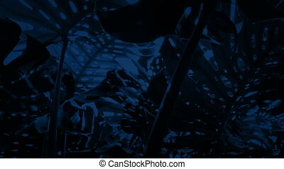 Moving Under Jungle Plants At Night - Tracking shot moving...