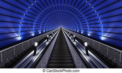 Moving up on a futuristic escalator.