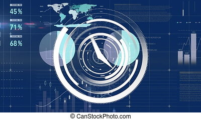 Moving white clock and charts on blue background