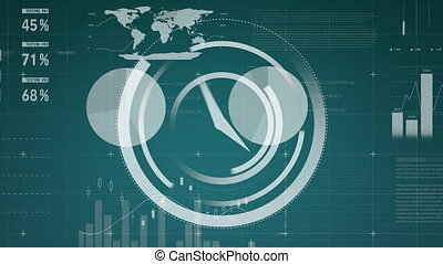 Moving white clock and charts on green background