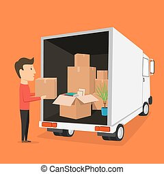 Moving with boxes. Things in box. Transport company - Moving...