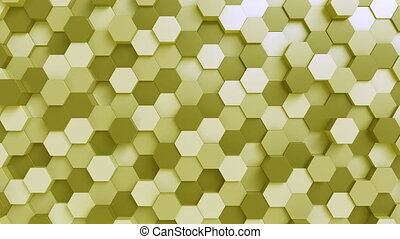 Moving yellow hexagonal prisms - Abstract hexagonal motion...