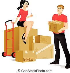 Moving - Young couple is ready to move in a new place