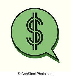 mowa, koło, bańka, dolar