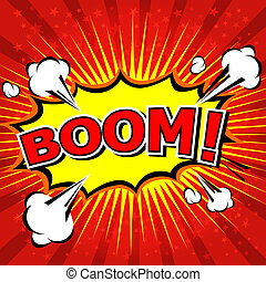 mowa, komik, bańka, boom!