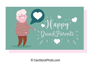 mowa, miłość, dzień, karta, dziadkowie, sprytny, dziadek, rysunek, bańka, szczęśliwy