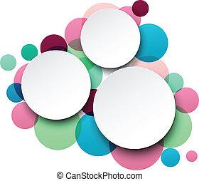 mowa, papier, okrągły, bubbles., biały