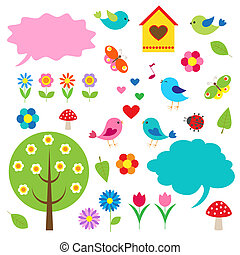 mowa, ptaszki, bańki, drzewa