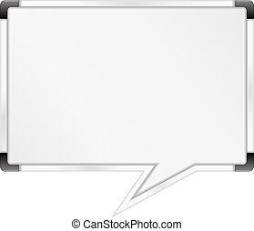 mowa, whiteboard, bańka, mający kształt