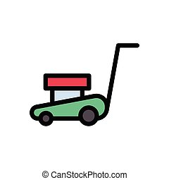 mower  flat color icon