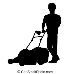 Man cutting the grass with lawn mower . Vector silhouette graphic depicting a man doing yard-work