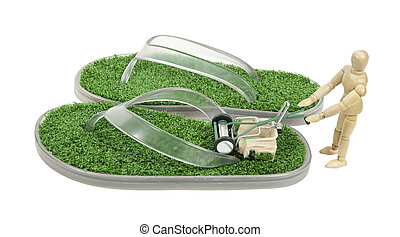 Mowing a pair of sandals with artificial grass on the foot pad area - path included
