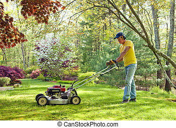 Mowing lawn - Man mowing lawn in his back yard lawn in...