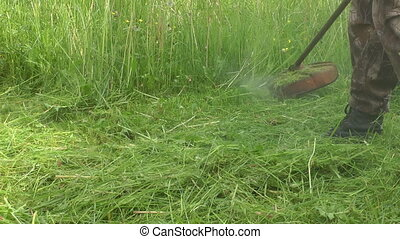 Mowing. - To mow a lawn with a trimmer.