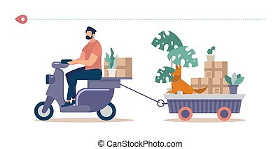 Mowing Things to New House Flat Vector Concept