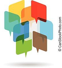 mowy, w, przestrzeń, logo
