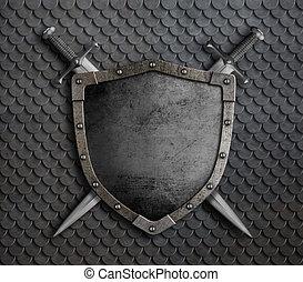 moyen-âge, balances, armure, sur, épées, deux, illustration, bouclier, traversé, 3d