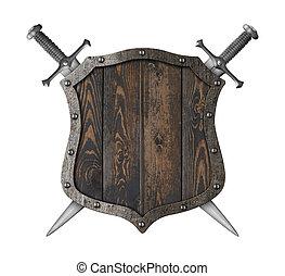 moyen-âge, bois, héraldique, épées, illustration, bouclier, traversé, 3d