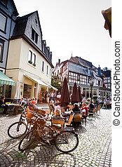 moyen-âge, cadre maison, temps, trittenheim, endroit, romantique, rivière, marché, mosel