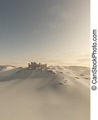 moyen-âge, château, hiver, neige