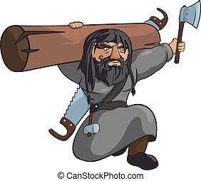 moyen-âge, charpentier, dur