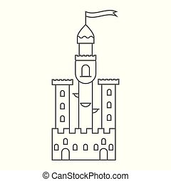 moyen-âge, conte, tower., fée, castle., icône
