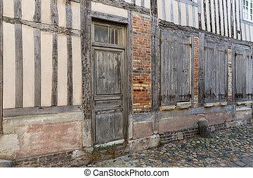 moyen-âge, honfleur, france, en ville, maisons, passage