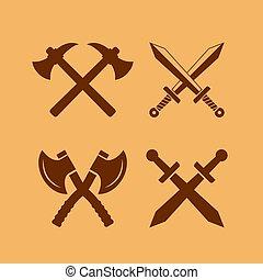 moyen-âge, icône, ensemble, arme