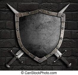 moyen-âge, mur, épées, illustration, bouclier, traversé, brique, 3d