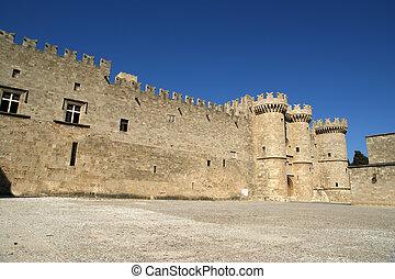 moyen-âge, (palace), rhodes, grèce, chevaliers, château
