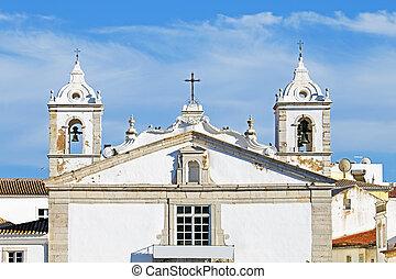 moyen-âge, portugal, rue., lagos, église, maria