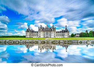 moyen-âge, réflexion., chambord, de, france française, unesco, chateau, loire, château
