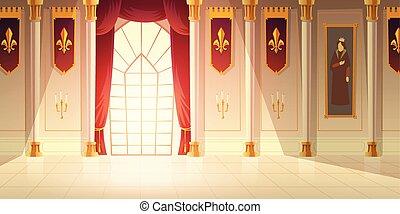 moyen-âge, salle bal, vecteur, fond, château, dessin animé