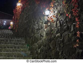 moyen-âge, scène, sombre, lumières, rue, nuit, escalier