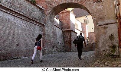 moyen-âge, vieux, passage, escalier