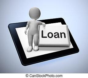 moyens, argent, concept, être, icône, prêt, -, crédit, dette, emprunt, 3d, illustration, ou