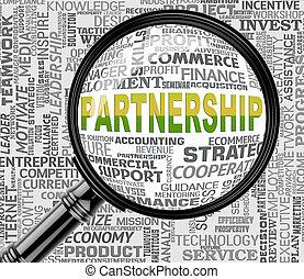 moyens, association, rendre, unité, collaboration, loupe, 3d