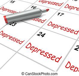 moyens, déprimé, malade, abattu, découragé, calendrier, ou,...