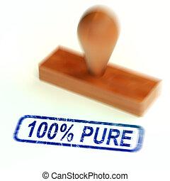 moyens, naturel, complètement, pur, timbre, -, certifié, 100%, 3d, illustration