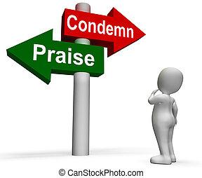 moyens, poteau indicateur, apprécier, blâme, éloge, ou, condamner